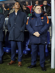 (L-R) assistant trainer Ruud Gullit of Holland, coach Dick Advocaat of Holland during the FIFA World Cup 2018 qualifying match between Belarus and Netherlands on October 07, 2017 at Borisov Arena in Borisov,  Belarus