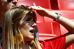 June 23, 2018 - Moscou, Russie - MOSCOW, RUSSIA - JUNE 23 :  Noemie Happart - Yannick Carrasco forward of Belgium wife during the FIFA 2018 World Cup Russia group G phase match between Belgium and Tunisia at the Spartak Stadium on June 23, 2018 in Moscow, Russia, 23/06/2018 (Credit Image: © Panoramic via ZUMA Press)