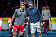 Dominic Thiem of Austria (left) and Roger Federer of Switzerland before the start of their match during the Nitto ATP World Tour Finals at the O2 Arena, London, United Kingdom on 13 November 2018.Photo by Martin Cole