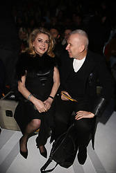 Catherine Deneuve and Jean-Paul Gaultier attending the Louis Vuitton show as part of the Paris Fashion Week Womenswear Fall/Winter 2018/2019 held at Le Louvre, in Paris, France, on march 05, 2018, France. Photo by Jerome Domine/ABACAPRESS.COM