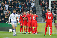 Marcos Aoas Correa dit Marquinhos (PSG) scored a goal from the decisive ball gaved from Giovani Lo Celso (PSG) and celebrated it with Maxwell Scherrer Cabelino Andrade (psg), Marcos Aoas Correa dit Marquinhos (PSG), Goncalo Guedes (PSG), Edinson Roberto Paulo Cavani Gomez (psg) (El Matador) (El Botija) (Florestan), Blaise Mathuidi (psg), Julian Draxler (PSG), Jean-Louis LECA (SC Bastia) during the French championship Ligue 1 football match between Paris Saint-Germain (PSG) and Bastia on May 6, 2017 at Parc des Princes Stadium in Paris, France - Photo Stephane Allaman / ProSportsImages / DPPI