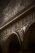 Close up of architecture details - arch and columns on Church of Santa Maria, Island of Chiloe, Chile