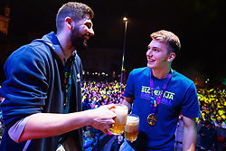 September 18, 2017 - Ljubljana, Slovenia, Slovenia - Luka Doncic and Slovenian fans attend celebrations in Ljubljana after Slovenian basketball team historical win in European Championship in Istanbul on September 18, 2017 in Ljubljana, Slovenia. (Credit Image: © Damjan Zibert/NurPhoto via ZUMA Press)