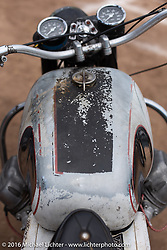 Revival Cycles' Andy James Dio's Moto Guzzi on Saturday Run-What-You-Brung flat track racing at the Handbuilt Motorcycle Show. Austin, TX, USA. April 9, 2016.  Photography ©2016 Michael Lichter.