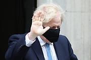 London, United Kingdom, May 12: British Prime Minister Boris Johnson leaves Ten Downing Street in London on Wednesday, May 12, 2021. (Photo/ Vudi Xhymshiti)