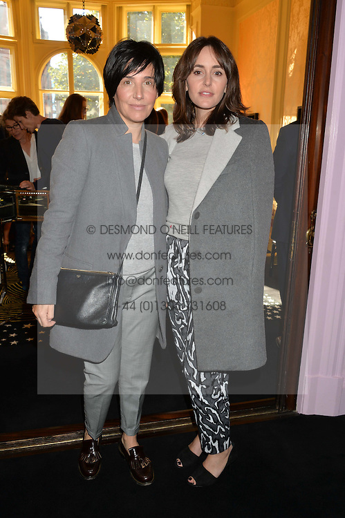 Left to right, SHARLEEN SPITERI and TANIA FARES at a lunch to view Solange Azagury-Partridge's new collection - Chromance at her store at 5 Carlos Place, London on 7th October 2014.