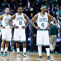 18 March 2013: Boston Celtics small forward Paul Pierce (34), Boston Celtics power forward Jeff Green (8) and Boston Celtics shooting guard Jason Terry (4) look dejected during the Miami Heat 105-103 victory over the Boston Celtics at the TD Garden, Boston, Massachusetts, USA.