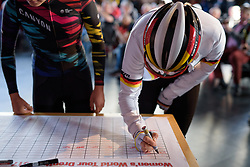 Mieke Kröger signs in at Ronde van Drenthe 2017. A 152 km road race on March 11th 2017, starting and finishing in Hoogeveen, Netherlands. (Photo by Sean Robinson/Velofocus)