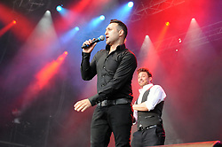 © Licensed to London News Pictures. 16/07/2015<br /> Rochester Castle Concerts,Rochester,Kent<br /> blue singing.<br /> Antony Costa<br /> (Byline:Grant Falvey/LNP)