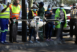 South Africa - Pretoria - 12 May 2020 - A sanitizing drone being demonstrated by Ntiyiso Aviation Services at Mabopane taxi rank.<br />Picture: Jacques Naude/African News Agency(ANA)
