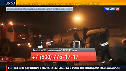 A TV grab taken on March 19, 2016 shows the news broadcast of the Flydubai Flight 981 crashing in southwestern Russia. A Boeing 737 passenger plane from Dubai crashed early Saturday at the destination airport in southwestern Russia, with all the some 60 people on board feared to have been killed, emergencies authorities and local media reports said. EXPA Pictures © 2016, PhotoCredit: EXPA/ Photoshot/ Xinhua<br /> <br /> *****ATTENTION - for AUT, SLO, CRO, SRB, BIH, MAZ, SUI only*****