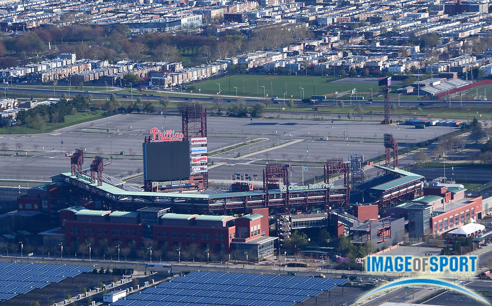 General overall aerial view of Citzen's Bank Park in the Philadelphia Sports Complex in Philadelphia on Thursday, April 26, 2018. The venue is the home of the Philadelphia Phillies of the MLB.