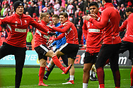 Lincoln City warm-up ahead of the EFL Trophy Final match between Lincoln City and Shrewsbury Town at Wembley Stadium, London, England on 8 April 2018. Picture by Stephen Wright.