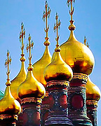 Golden Domes of the Russian Orthodox Church at the Kremlin, in Moscow, Russia