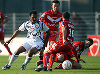 Fotball<br /> Frankrike<br /> Foto: DPPI/Digitalsport<br /> NORWAY ONLY<br /> <br /> FOOTBALL - FRENCH CHAMPIONSHIP 2008/2009 - L1 - VALENCIENNES FC v TOULOUSE FC - 28/09/2008 - DANIEL BRAATEN (TOU) / DJAMEL BELMADI (VA)