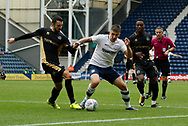 Jordan Hugill of Preston North End and Conor McLaughlin of Millwall during the EFL Sky Bet Championship match between Preston North End and Millwall at Deepdale, Preston, England on 23 September 2017. Photo by Paul Thompson.