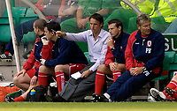 Photo: Jed Wee/Sportsbeat Images.<br /> Hibernian v Middlesbrough. Pre Season Friendly. 28/07/2007.<br /> <br /> Middlesbrough manager Gareth Southgate plots his team's tactics from the bench.