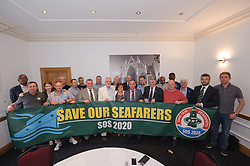 © Licensed to London News Pictures.  25/06/2017; Exeter, Devon, UK. JEREMY CORBYN, the leader of the Labour Party, at the start of the RMT union's annual general meeting in Exeter, with a campaign banner on International Seafarers Day. Picture credit : Simon Chapman/LNP