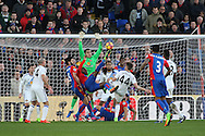 Christian Benteke of Crystal Palace (M) tries an overhead kick at goal. Premier League match, Crystal Palace v Sunderland at Selhurst Park in London on Saturday 4th February 2017. pic by Steffan Bowen, Andrew Orchard sports photography.