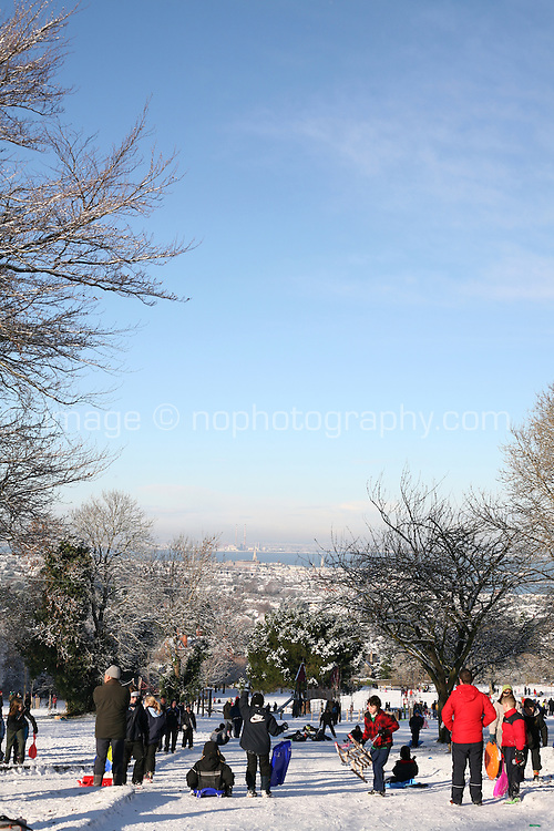Tobogganing on Killiney Hill Dublin in the snow November 2010