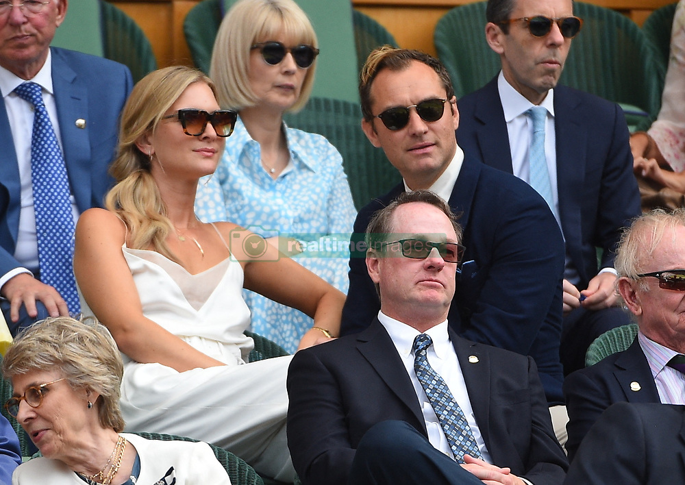 Jude Law and wife Phillipa Coan on day eleven of the Wimbledon Championships in London, UK on July 12, 2019. Photo by Corinne Dubreuil/ABACAPRESS.COM