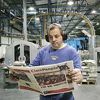 The Clare People newspaper being printed at the Limerick Leader printers in the Corcanree Business Park, Dock Road Limerick. Pic Sean Curtin Press 22.