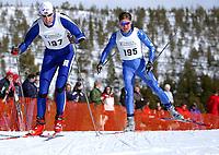 NM på ski Savalen 2004,  50 km herrer<br />Rune Torset, Harestua foran Brynjar Skjærli, Lillehammer<br />Foto: Carl-Erik Eriksson, Digitalsport