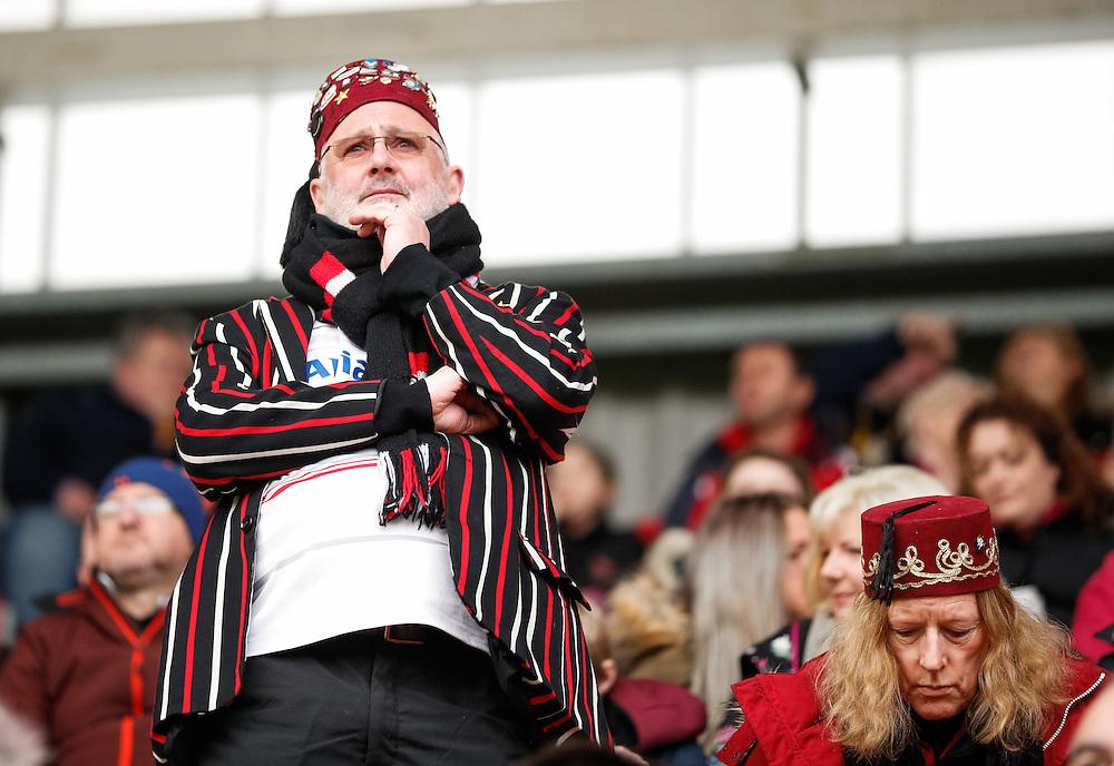 A Saracens fan enjoying the pre match atmosphere<br /> <br /> Photographer Simon King/CameraSport<br /> <br /> EPCR Champions Cup 2016-17<br /> <br /> World Copyright © 2017 CameraSport. All rights reserved. 43 Linden Ave. Countesthorpe. Leicester. England. LE8 5PG - Tel: +44 (0) 116 277 4147 - admin@camerasport.com - www.camerasport.com