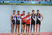 Eton Dorney, Windsor, Great Britain,..2012 London Olympic Regatta, Dorney Lake. Eton Rowing Centre, Berkshire.  Dorney Lake.  ..Men's Lightweight Doubles, medal ceremony, gold Medalist. DEN LM2X, Rasmus QUIST and Mads RASMUSSEN...12:59:22  Saturday  04/08/2012 [Mandatory Credit: Peter Spurrier/Intersport Images]