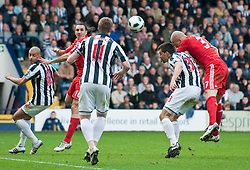 02.04.2011, The Hawthorns, West Bromwich, ENG, PL, West Bromwich Albion vs Liverpool FC, im Bild Liverpool's Martin Skrtel scores his side's opening goal against Paul Scharner West Bromwich Albion during the Premiership match at The Hawthorns, EXPA Pictures © 2011, PhotoCredit: EXPA/ Propaganda/ D. Kendall *** ATTENTION *** UK OUT!