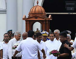 April 28, 2019 - Colombo, Sri Lanka - Sri Lankan President Maithripala Sirisena ( wearing spectacles ) and prime minister Ranil Wickremesinghe  arrive at St. Anthony's Church where an explosion took place one week ago in Kochchikade, Colombo, Sri Lanka on 28 April 2019. (Credit Image: © Tharaka Basnayaka/NurPhoto via ZUMA Press)
