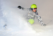 Japan's Nobuyuki Nishi completes a run in the World Cup freestyle moguls final at  Deer Valley Resort, Saturday, Jan. 16, 2010, in Park City, Utah. (AP Photo/Colin E Braley).