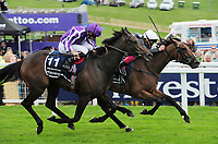 Flat Horse Racing - 2019 Investec Derby Festival - Friday, Day One (Ladies Day)<br /> <br /> Frankie Dettori on Anapurna edges ahead of Pink Dogwood to win the race, in the 16.30 investec Oaks (Group 1), at Epsom Racecourse.<br /> <br /> COLORSPORT/ANDREW COWIE