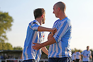 Jack Hayward of Worthing United celebrates with Sam Blundell as he puts his side 1- infront during the FA Vase 1st Qualifying Round match between Worthing United and East Preston FC at the Robert Eaton Memorial Ground, Worthing, United Kingdom on 6 September 2015. Photo by Phil Duncan.