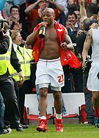 Photo: Steve Bond/Richard Lane Photography. <br />Nottingham Forest v Yeovil Town. Coca-Cola Football League One. 03/05/2008. Junior Agogo clebrates promotion