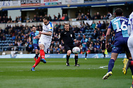 Brett Pitman of Portsmouth shot goes wide during the EFL Sky Bet League 1 match between Wycombe Wanderers and Portsmouth at Adams Park, High Wycombe, England on 6 April 2019.