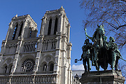 Statue in front of Notre Dame, Paris