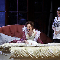 Picture shows :   German soprano Anita Bader (l) ( as Christine Storch ) during rehearsal of Richard Strauss's 'Intermezzo' for Scottish Opera with Sarah Redwick (r). The Theatre Royal, Glasgow. .17/3/2011...Picture Drew Farrell..Tel : 07721-735041..Opening at the Theatre Royal, Glasgow on 26 March 2011...Conductor  Francesco Corti.Director   Wolfgang Quetes.Designer   Manfred Kaderk.Lighting       Matthias Hönig