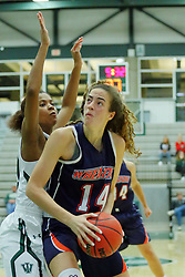 06 December 2017:  Raven Hughes defends Devin Kyler during an NCAA women's basketball game between the Wheaton Thunder and the Illinois Wesleyan Titans in Shirk Center, Bloomington IL
