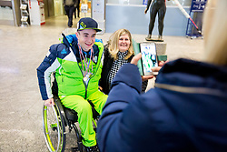 Jernej Slivnik with his fans prior to the departure of Slovenian Paralympic team for Pyeongchang 2018 Winter Paralympics, on March 3, 2018 in Letalisce Jozeta Pucnika, Brnik, Slovenia. Photo by Vid Ponikvar / Sportida