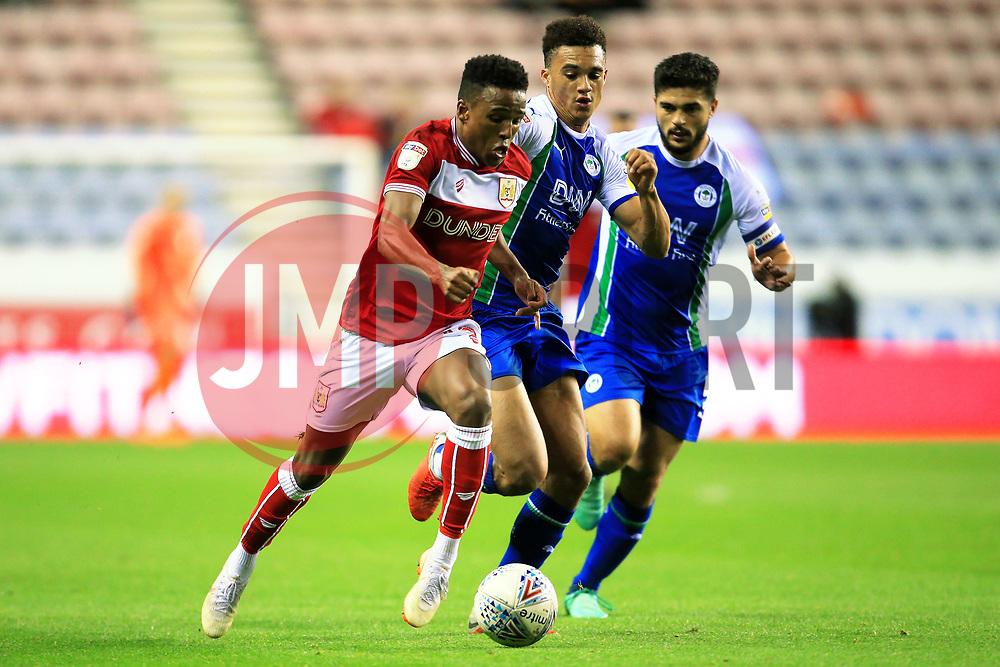 Bristol City's Niclas Eliasson takes on Wigan Athletic's Antonee Robinson - Mandatory by-line: Matt McNulty/JMP - 21/09/2018 - FOOTBALL - DW Stadium - Wigan, England - Wigan Athletic v Bristol City - Sky Bet Championship