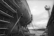 Kvaerner shipbuilding yard, on the River Clyde, Glasgow, Scotland, October 1993.