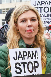 January 26, 2019 - London, United Kingdom - Former Foreign Secretary Boris Johnson's girlfriend Carrie Symonds is seen holding a placard during the protest against Japanese Whaling in central London. (Credit Image: © Dinendra Haria/SOPA Images via ZUMA Wire)