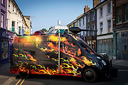 Climate Emergency Services By Artist Mike Stubb parked in the middle fo the road for the launch of The Creative Folkestone Triennial 2020, The Plot Tontine street was closed off and more artwork appeared. This is Folkestones 5th open air art exhibition and the third one curated by Lewis Biggs. The Plot sees 27 newly commissioned artworks appearing around the south coast seaside town. The new work builds on the work from previous triennials making Folkestone the biggest urban outdoor contemporary art exhibition in the UK.