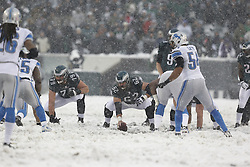 Philadelphia Eagles center Jason Kelce #62 prepares to snap the ball during the NFL game between the Detroit Lions and the Philadelphia Eagles on Sunday, December 8th 2013 in Philadelphia. The Eagles won 34-20. (Photo by Brian Garfinkel)