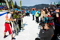 Third placed team of Poland:  Piotr Zyla, Dawid Kubacki, Maciej Kot  and Kamil Stoch celebrate at the trophy ceremony after the Ski Flying Hill Men's Team Competition at Day 3 of FIS Ski Jumping World Cup Final 2017, on March 25, 2017 in Planica, Slovenia. Photo by Vid Ponikvar / Sportida