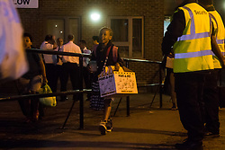 London, June 23rd 2017. Residents of Chalcot Estate, a complex of five tower blocks, are evacuated over concerns that the cladding used in a refurbishment is the same as that used in the Grenfell Tower Fire disaster that's so far claimed 79 lives.The cladding from all five towers will be removed over the next few weeks. PICTURED: A girl leaves Taplow Tower with her cat in a Port-a-Pet box.