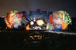 Grateful Dead Live at Soldier Field Chicago. The night before the last show ever performed by the band, July 8, 1995. Stage lighting and set design by Candace Brightman. Photographed from the lighting booth for Ms. Brightman and Grateful Dead Productions. Image 13B-35