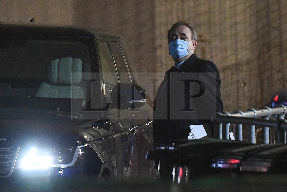 © Licensed to London News Pictures. 26/02/2021. Edinburgh, UK. Alex Salmond, former First Minister of Scotland, is seen leaving the Scottish Parliament in Edinburgh. Today he made an appearance a Scottish Parliament inquiry which is examining the Scottish government's controversial  handling of harassment allegations against Mr Salmond. Photo credit: Peter Summers/LNP