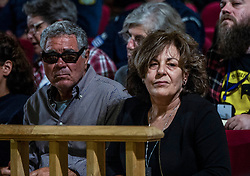 The mother and the father of murdered musician Paylos Fyssas, Magda Fyssa and Panagiotis Fyssas, attends the apology of Golden Dawn leader Nikos Michaloliakos, Court of Appeal, Golden Dawn trial, Athens, Greece on November 6, 2019.<br /> <br /> Pictured: <br /> Dimitris Lampropoulos  | EEm date